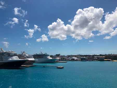 cruise ships port clouds caribbean Stock Photo