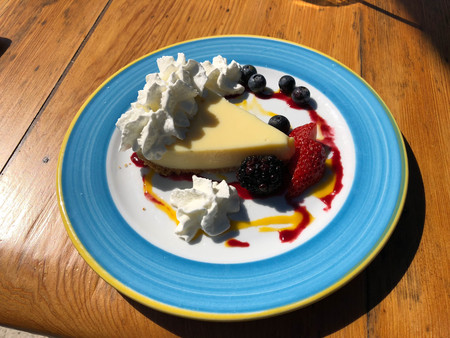 key lime pie dish with berries colorful