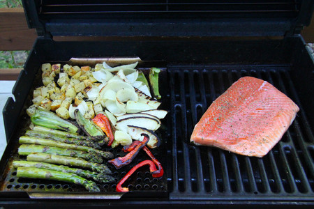 grilled vegetables asparagus potatoes with salmon fillet