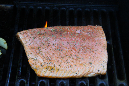 closeup grilled salmon fillet Stock Photo