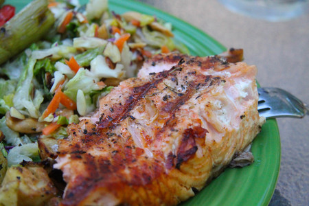 grilled vegetables salmon steak fillet plate closeup Stock Photo