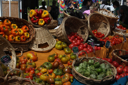 produce at farmers market in baskets