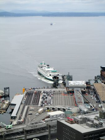 seattle ferry loading cars at dock