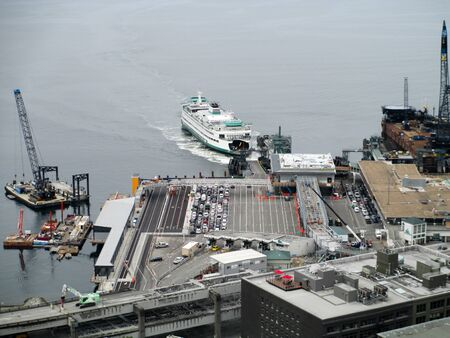 seattle ferry loading cars at pier