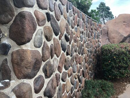 rock wall made with cement