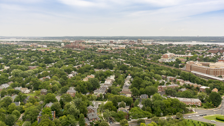 A panoramic view of Alexandria, Virginia, USA and surrounding areas as seen from the top of the George Washington Masonic Temple.