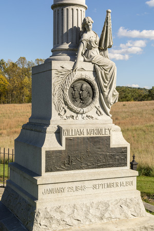 The monument at Antietam National Battlefield to America's 25th President, William McKinley; dedicated on October 13, 1903, two years after his assassination.