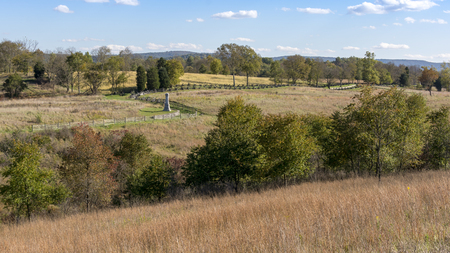 Overlooking the countryside and statues that mark the location of Antietam National Battlefield, Sharpsburg, Maryland, spot of one of the bloodiest battles of the American Civil War. Stock Photo