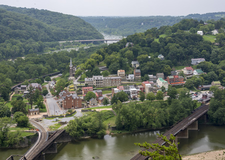 A scenic panoramic view of historic Harpers Ferry, West Virginia from the cliffs of Maryland Heights. Editorial