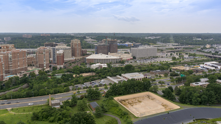 An aerial panoramic view of Alexandria, Virginia, USA as seen from the top of the George Washington Masonic Temple. 写真素材