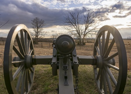 An American Civil War cannon overlooks a field at Gettysburg National Military Park.