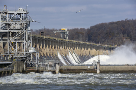 The Conowingo Hydroelectric dam straddles the Susquehanna River between the border of Maryland and Pennsylvania.