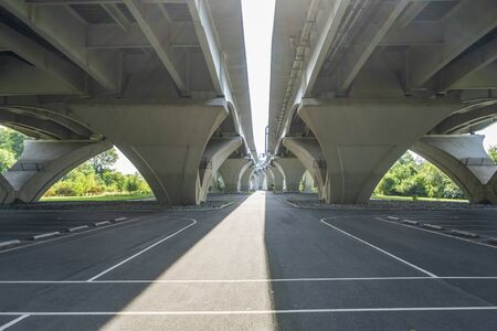 An asphalt playground located at Jones Point Park, found beneath the Woodrow Wilson Bridge, which spans the Potomac River between Alexandria, Virginia and the state of Maryland.
