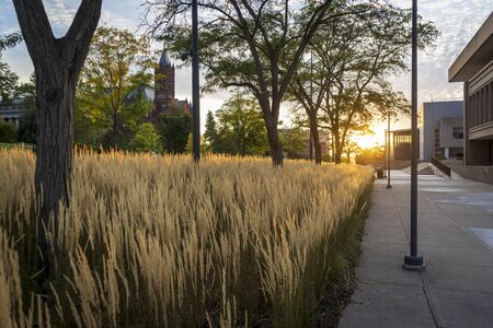 Crouse College is seen on a hill in the distance as a golden sun sets over the city of Syracuse, New York.