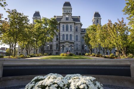 The Hall of Languages is Syracuse University's oldest building. It stands behind the Wall of Remembrance, commemorating the Syracuse University students killed on Pan Am flight 103 from Lockerbie.