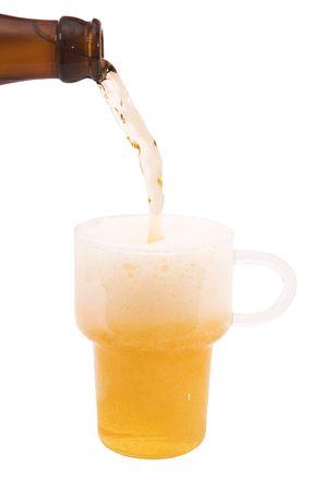 isolated, white, background, beer, bottle
