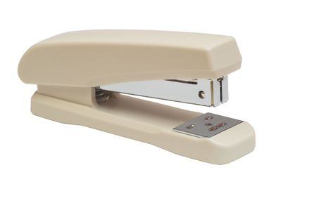 isolated, white, background, stapler, office