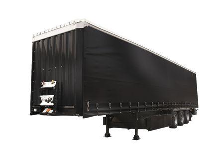 trailer, black, heavy, isolated, white, background  Stock Photo