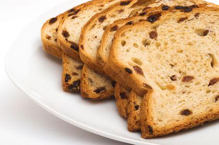 isolated, white, background, raisin bread, bread Stock Photo