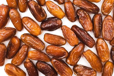 dates, dried fruits, white, background,