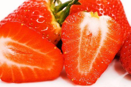isolated, white, background, strawberry, macro