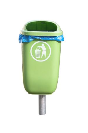 green garbage basket with the symbol, isolated, white, background