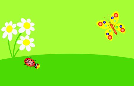 funny ladybird and butterfly are  in the green garden, illustration
