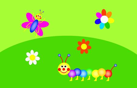 funny caterpillar and butterfly are in the green garden, colors of the rainbow, illustration Stock Photo
