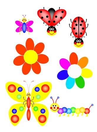fanny ladybirs butterflys catrpillar and flowers, colors of the rainbow, illustration, isolated, white, background