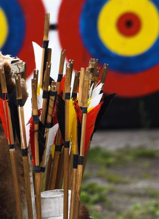 bow shooting, historical weapon, target and arrows
