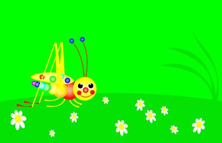 funny grsshopper is in the green meadow, colors of the rainbow