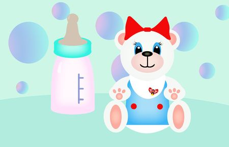 polar teddy bear is near the  bottle, on the backgrond are soap-bubbles