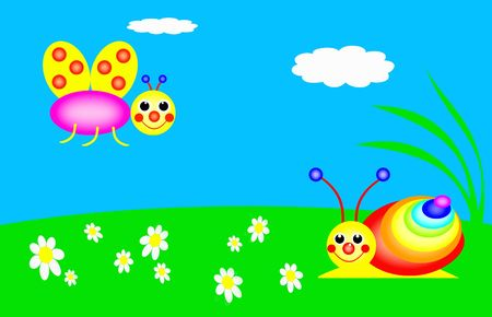 funny snail and butterfly are in the meadow, colors of the rainbow Stock Photo