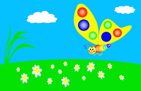 funny butterfly is flying in the meadow, colors of the rainbow