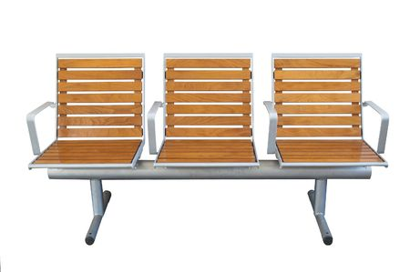 A standard bench in a railway station on white.