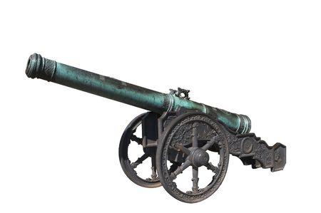Old heavy bronze gun isolated on white.