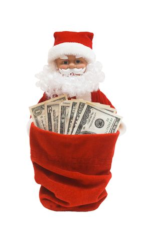 christmas profits: santa is giving a cash from his sack, on white