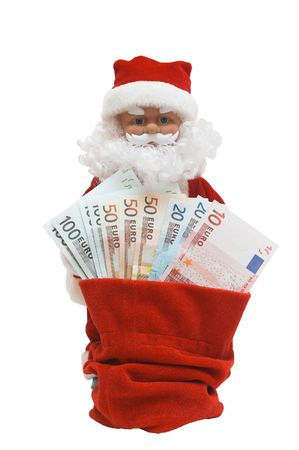 santa is giving a cash from his sack, on white Stock Photo