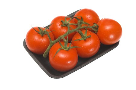 tomatos packed in a plstic container on white