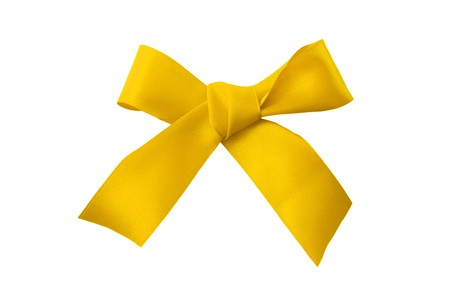 a silk yellow bow is on white