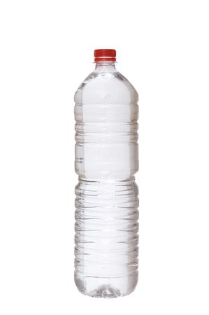 a plastic bottle with water is on white background photo