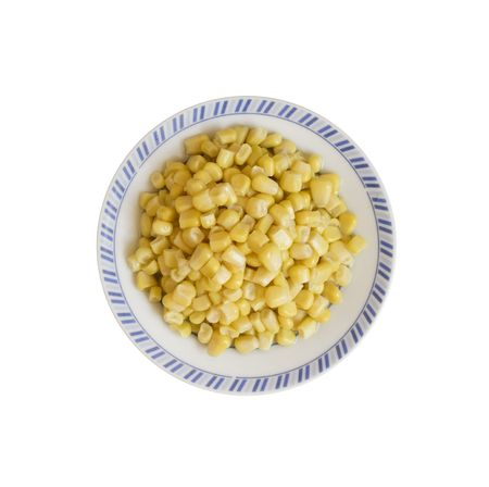 a plate with tinned maize is on white background