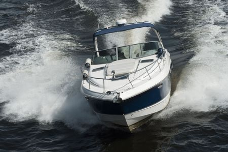 a motor boat is on the water