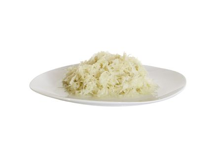 sauerkraut is on the plate on white background