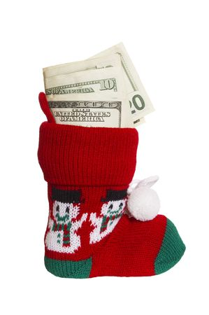 cash is on the sock on white, bonus surprise Stock Photo - 6061955