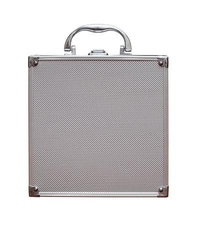old aluminium case is on white background