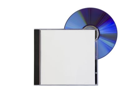 rewritable: disk and a box with a blank cover on white