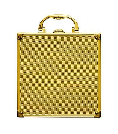 tresure: gold case is on white background Stock Photo