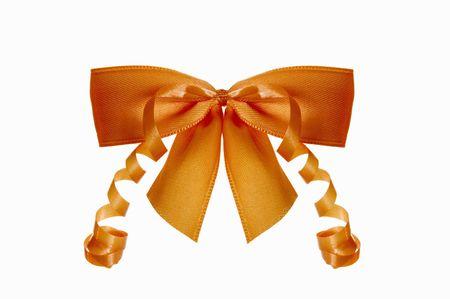 orange bow is on white background Stock Photo
