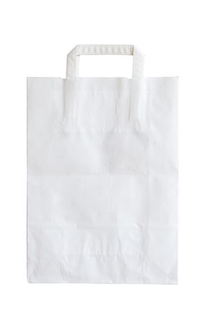 white paper bag is on white background photo